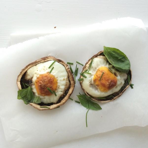 Gevulde portobello met ei