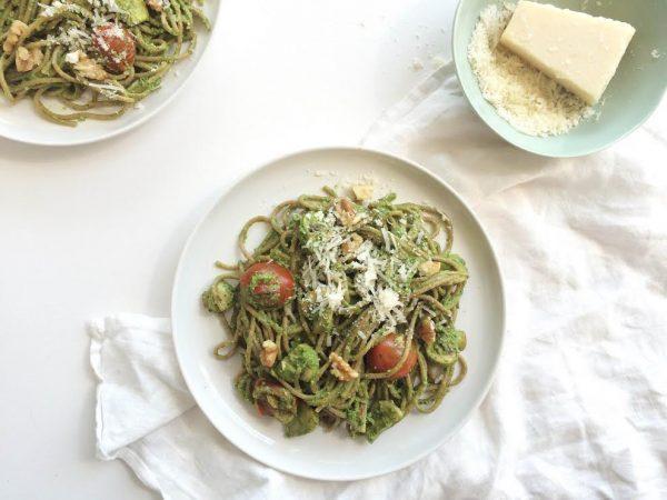 pasta spinazie-noten pesto