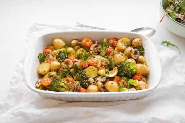 Broccoli aardappel ovenschotel kerriesaus