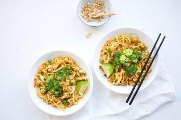 Groene curry noodels