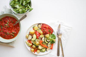 Geroosterde groenten tomatensaus