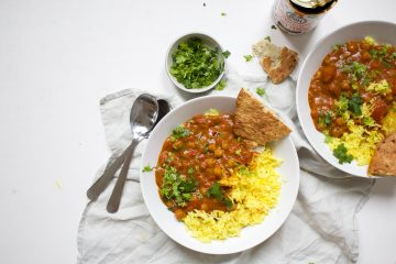 Vegetarische curry madras van blik