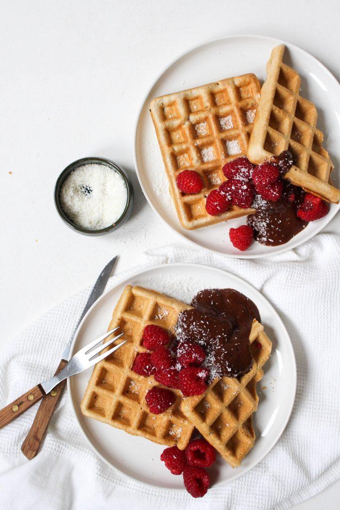 Wafels chocolademousse frambozen