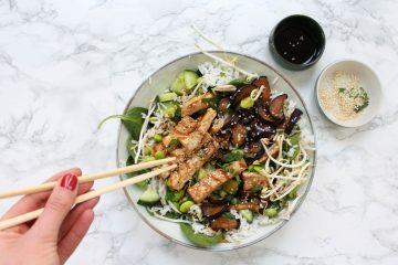 Japanse salade aubergine tofu