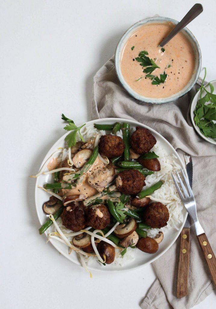 rijst vegetarische balletjes