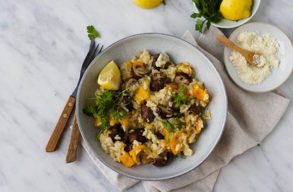 risotto met pompoen champignons f