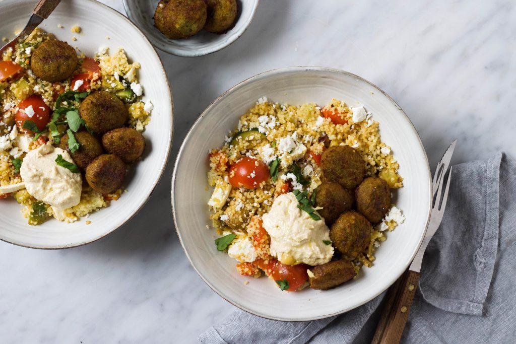 couscous falafel hummus bowl