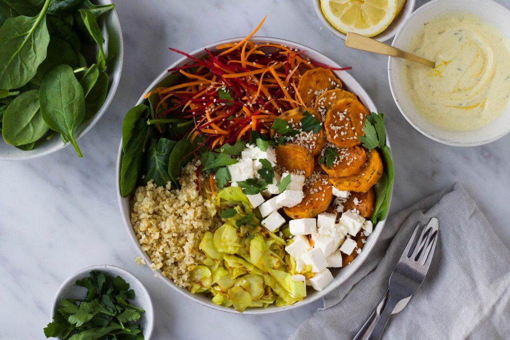 salade bowl zoete aardappel feta