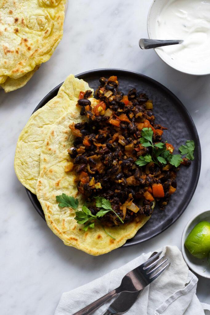 masala tortilla zwarte bonen